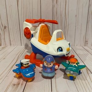 EUC!✨Little People Helicopter Set with 3 Planes✨